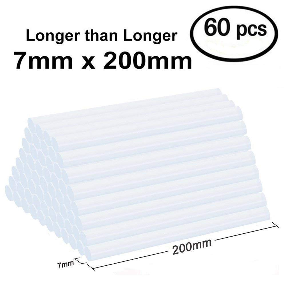 Lnkey 60 Pcs bâtons de colle (7 x 200 mm) pour pistolet à colle, extra long colle thermofusible transparent (bâtons de colle) extra long colle thermofusible transparent (bâtons de colle) LZHOO