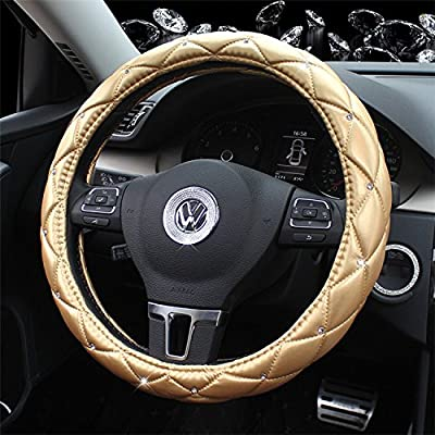 Follicomfy Microfiber Leather Auto Car Steering Wheel Cover,Anti Slip Universal 15 Inch