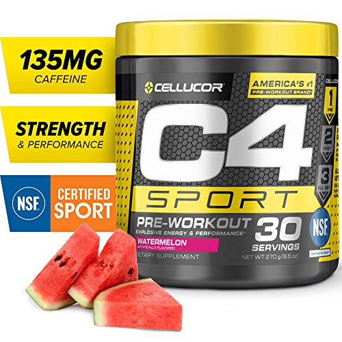 C4 Sport Pre Workout Powder Watermelon | NSF Certified for Sport + Sugar Free Pre-Workout Energy Supplement for Men & Women | 135mg Caffeine + Creatine Monohydrate | 30 Servings