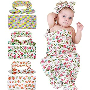 Bigbuyu Newborn Floral Receiving Blankets Newborn Baby Swaddling with Headbands Infant Warm Sleepsack (Orange Rose)