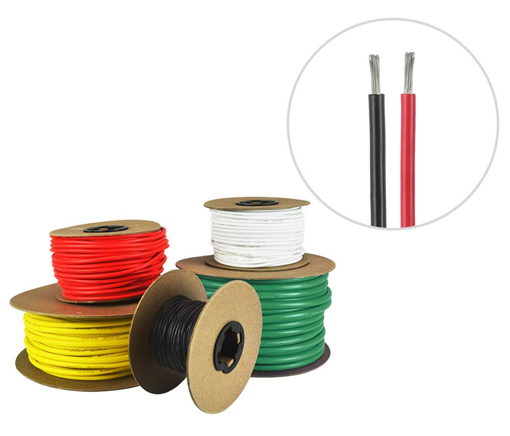 12 AWG Marine Wire -Tinned Copper Primary Boat Cable - 50 Feet Red, 50 Feet Black - Made in The USA by Common Sense Marine