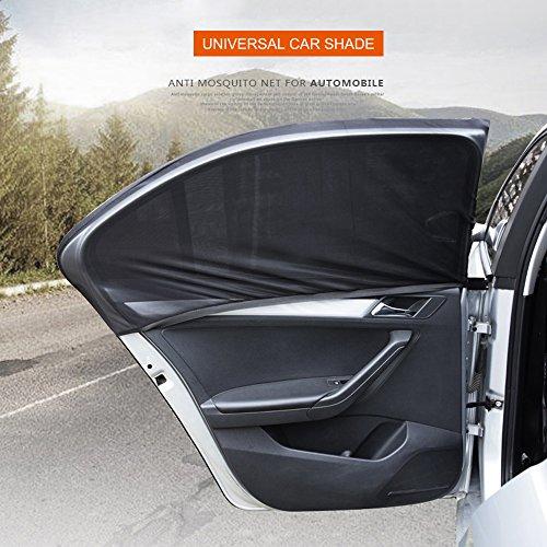(Universal Car Side Window Sun Shade, Gulee Car Sun Shade Mesh Curtain Block Shield Protection for Rear Back Window, Blocks 98% of Harmful UV Rays, Protect Your Baby / Kids from Sun Glare & Heat)