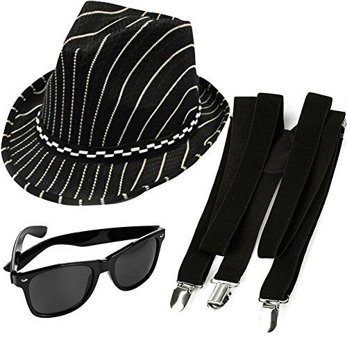 (Funny Party Hats Gangster Costume - 3 Pc Set - 1920s Mens Accessories - Mobster Costume - Roaring 20s)