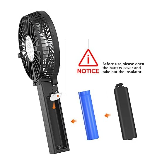 VersionTECH. Mini Handheld Fan 2 【Hanging Umbrella Design】: Unique design style, you can hang the fan above your umbrella or parasol.The design is ideal for outdoor crowds, and you don't have to worry about the outdoors even when the temperature is so high, because this fan can cool you down,It's a must-have for the summer. 【Folding And Multipurpose Design】: This fan can fold up to 180°.You can use this fan: ①hold it on your hand, ②put it on the table, ③hang it on the sun umbrella, ④clip it on other objects; If you don't know how to use it, please look at the picture or contact us. If you find better uses, you can also tell us. 【ENERGY SOURCE】: This fan is a USB port rechargeable model. It can also be powered directly by batteries, but you must remove the insulation from the battery compartment, otherwise it will not be recharged or used.USB cable can be charged with computer, mobile power, power bank and so on.