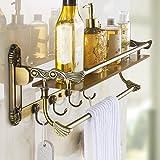 Rozin Art Carved Antique Brass Bathroom Storage Shelf Holder Wall Mounted