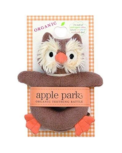 Apple Park Picnic Pal Teething Rattle, Owl (Rattle Pal)