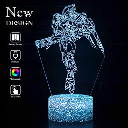 Price comparison product image Overwatch Pharah Game 3D Mood Lamps Optical Illusion LED Night Lights Bedroom Bedside Decor Indicator Light Father's Day Events Xmas Bday Holiday Gifts Party Gift Ideas for Kids Boys Adults(Pharah)