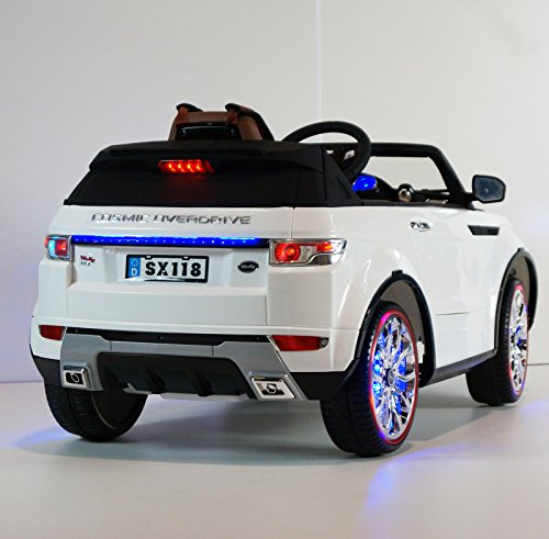 range rover style ride on toy car for kids with remote control 12v battery operated white. Black Bedroom Furniture Sets. Home Design Ideas