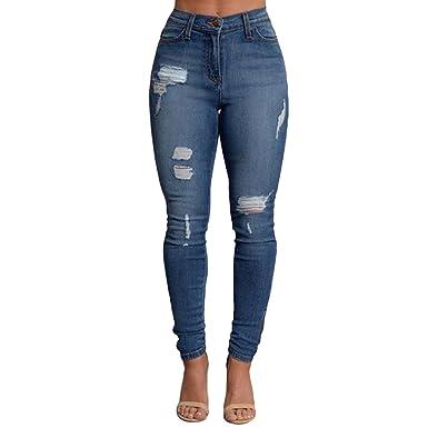 9c38a73f62482 ZKOO Femme Denim Pantalons Taille Haute Jeans Slim Leggings Collant Crayon  Casual Déchiré Pants XL