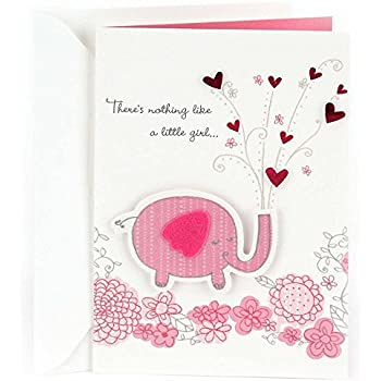 hallmark congratulations greeting card for new baby girl pink elephant
