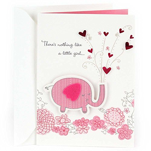 Hallmark Congratulations Greeting Card for New Baby Girl (Pink Elephant) (New Baby Congratulations)