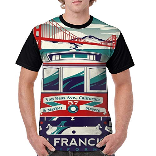 Mens San Francisco Cable Car California Poster Crazy 3D Printed Tshirts Casual Creative Crewneck Short Sleeve Graphic Tees Black]()