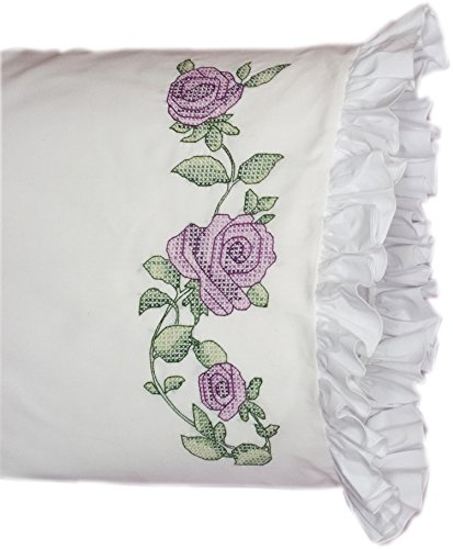 Lace Stitch Cross - Fairway 82628 Stamped Lace Edge Pillowcase, 30 by 20-Inch, Rose Vine, 2-Pack