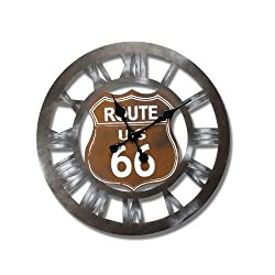 Adeco CK0027 Vintage-Inspired, Retro Round Wall Hanging Clock Us Route 66 Home Decor, Brown, Dark, Black, Brown