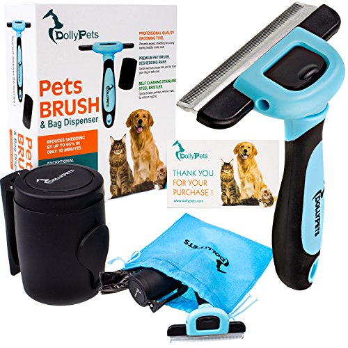 Shorthair Brush Dog (Dog Brush - Cat Brush Set For Grooming, Reduces Shedding By Up To 95% –Professional Deshedding Tool For Short And Long Hair With Bag Dispenser,15 Waste Bags And Storage Bag Included)