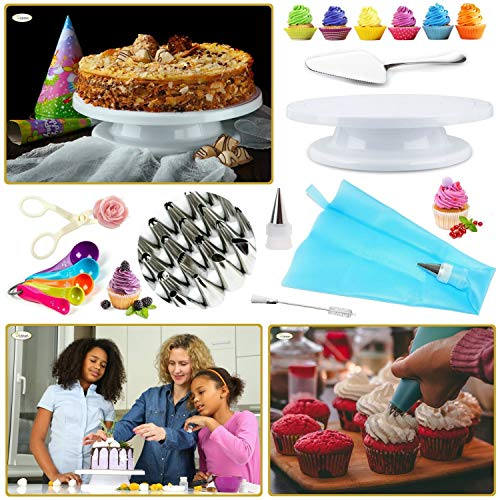 Whryspa All-in-One Cake Decorating Kit Supplies with Revolving Cake Turntable, 24 Cake Decorating Tips, for Cake Decoration Baking Tools by Whryspa (Image #2)