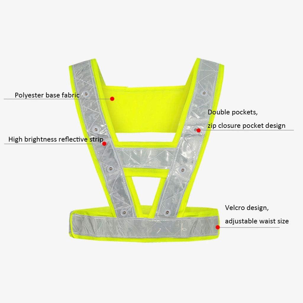 Sicherheitsweste LED Konstruktion Warnweste Schutzkleidung Nacht Sicherheitskleidung Warnweste Warnweste High-Light with Light Reflektierende Weste Gr/ö/ße : Battery Model