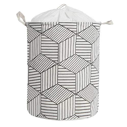 Large Size Laundry Hamper Storage Basket with Waterproof of Coating Canvas Fabric Kids Storage Bins (White)