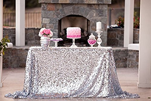 50x72silver Sequin Tablecloth Wedding Sparkle