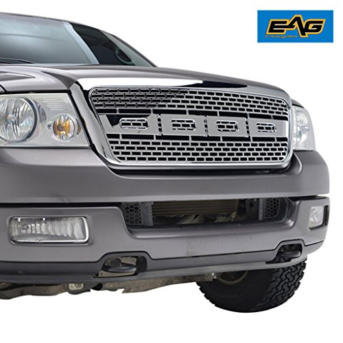 Part Car Grill Chrome 04 (EAG 04-08 Ford F-150 Raptor Grille Packaged ABS Chrome Grill)