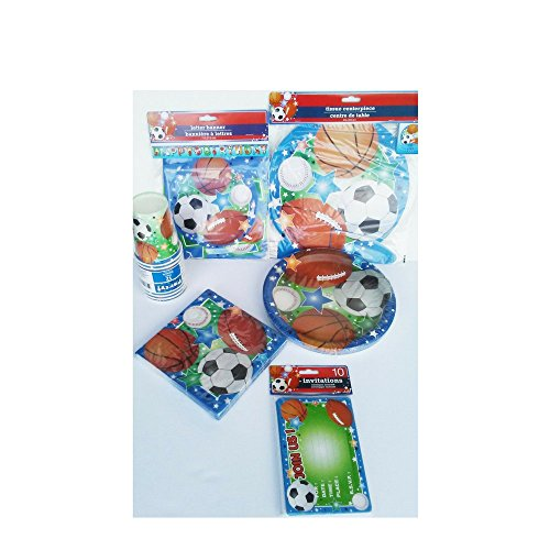 Sports Birthday Party Pack for Boys: Inlcudes Invitations, Center Piece, Banner, Plates, Napkins and Cups (Center Piece Plate compare prices)