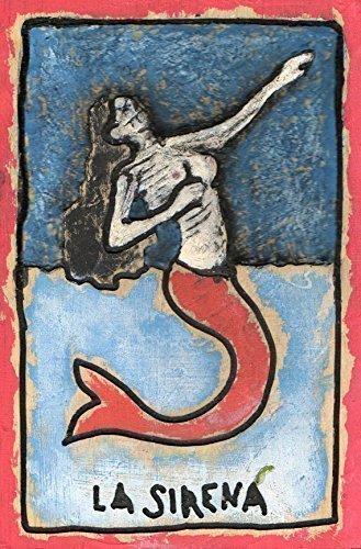 La Sirena, Skeleton Mermaid Wall Art, Wooden Loteria Carving, Dia de Los Muertos Style Plaque. measure: approx 8 X 11