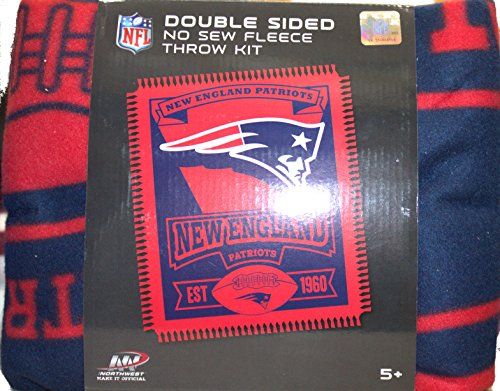 The Northwest Company NFL New England Patriots Double Sided No Sew Fleece Blanket Kit (Fleece England New Patriots Blanket)