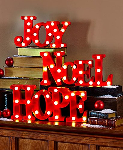 Holiday Marquee Signs Metal Material, Perfect Size Looks Great When They are not turned on. Set of 3 Christmas Signs Outdoor Portable Display Decor New Metal words Joy Hope Noel. - Sign Words Christmas