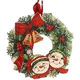 Christmas VINTAGE SNOWMAN  amp; HOLLY WREATH Wood Door Decor Wall Art Bell 32293