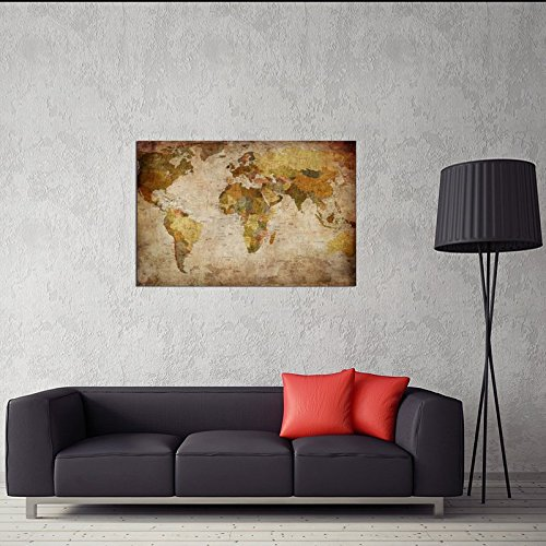 Kitchen Art Lebanon: Wieco Art World Map Large Modern Stretched And Framed