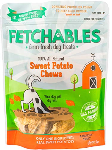 (Fetchables Farm Fresh Gluten-Free Dog Treats | Sweet Potato Dog Chews (100% Natural Dog Treats Made in USA, Only One Ingredient, Allergen and Grain Free, Single Ingredient, 6 oz))