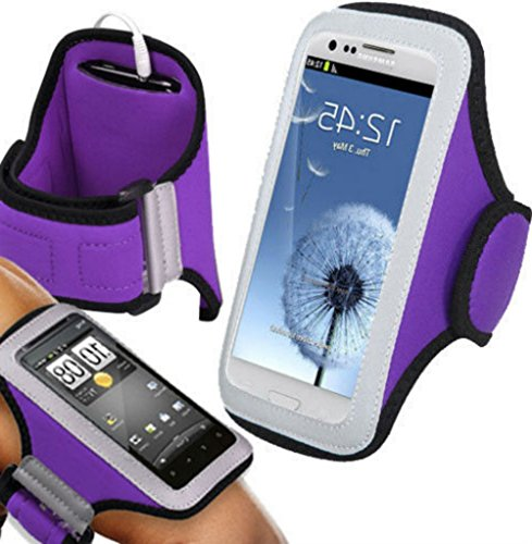"""myLife Vivid Purple + Wolf Black {Rain Resistant Velcro Secure Running Armband} Dual-Fit Jogging Arm Strap Holder for HTC One M7, M8, and M9 """"All Ports Accessible"""""""