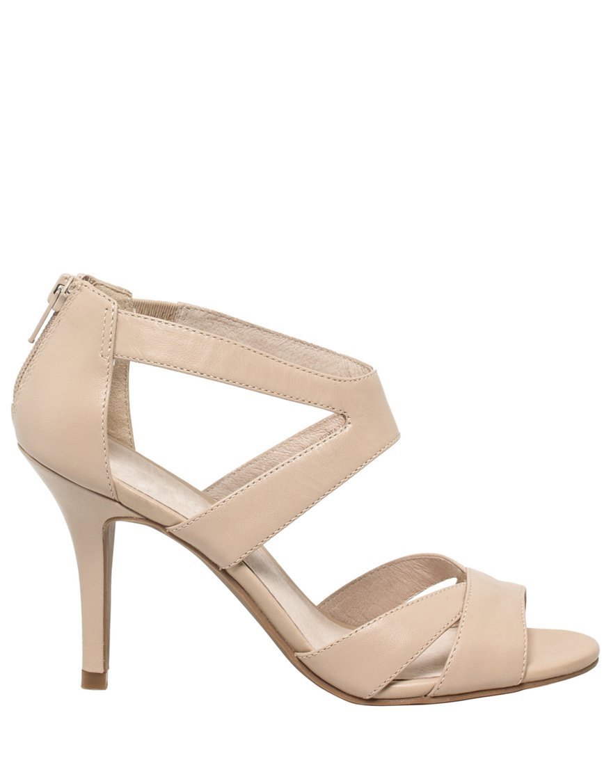 LE CHÂTEAU Women's Leather Strappy Sandal,9,Nude