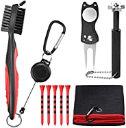 Golf Accessories Gift Set, VinTeam Golf Towel, Golf Club Brush with Groove Cleaner, Foldable Divot Repair Tool