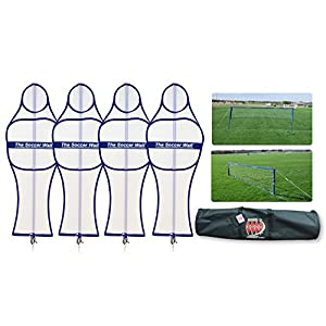 Soccer Innovations The Soccer Wall Adult Portable Training Defender with Carry Bag, White, Set of 4