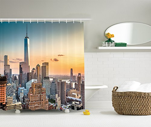 Ambesonne Cityscape Decorations Collection, New York City Skyline NY Windows Opening to Manhattan Colorful Waterproof, Polyester Fabric Bathroom Shower Curtain Set with Hooks, Navy Orange