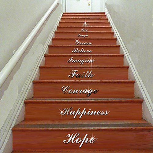 Fheaven Self Adhesive Acrylic Silver Mirror Effect Quote Word Art Stair Decals Wall Sticker Home Decor - Mirror Silver Spa
