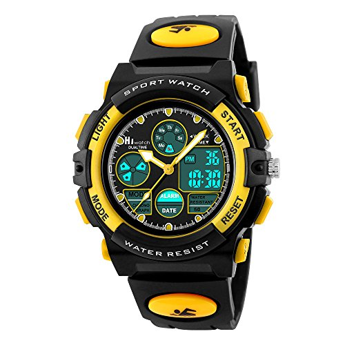 Hiwatch Kids Watches Boys Girls Waterproof Sports Digital Wrist Watch for Youth Yellow