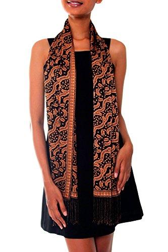 NOVICA 100% Silk Brown and Black Batik Printed Scarf 'Tamarind Leaves' ()