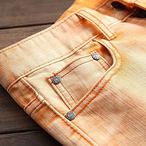 Chern Ragazzi Stretch Fori Rotti Uomo Pantaloni Cowboy Jeans Arancia Classiche Slim Da Retrò Denim Di Fit Con Strappati CqwXa6q