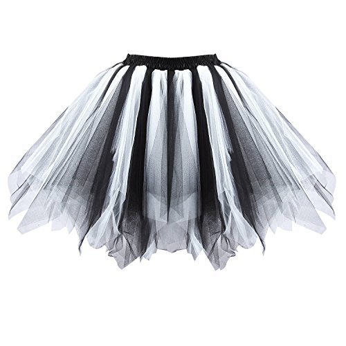 Honeystore Women's Short Vintage Ballet Bubble Puffy Tutu Petticoat Skirt Black and White