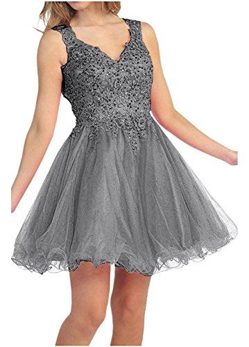 La Spitze Damen Kurz Abiballkleider Braut Abendkleider Mini mia Promkleider Cocktailkleider Grau wqAwnExrt1