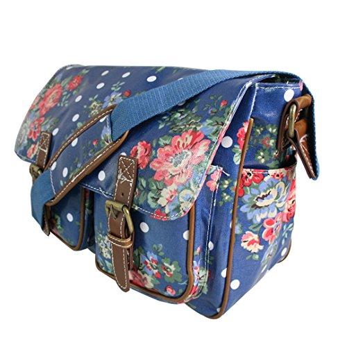 Miss Lulu Damen Schultertasche Umhängetasche Blumen Wachstuchtasche Cross Body Messenger Bag Oilcloth Schule Satchel Tasche Blumen Dunkelblau 1hArjtyNi