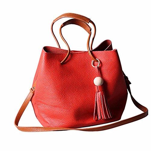 Rojo Piel Bolsa Bolso Blanco J Bandolera De Para Shoppers Y Hombro Por Mujer Grande Esailq WqI46Ig5n