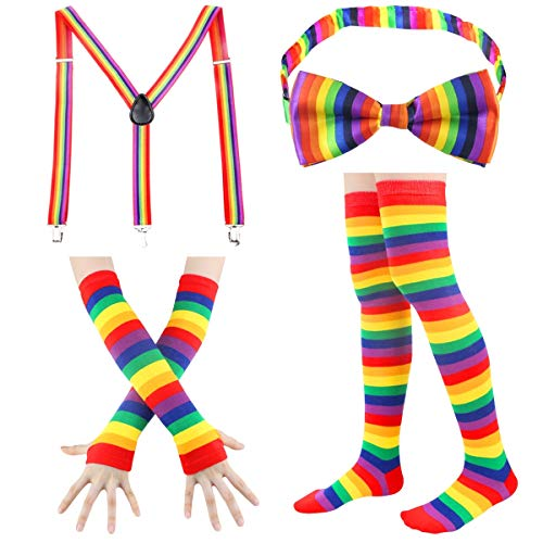 Stripe High Socks - Womens Knee High Socks Fingerless Gloves Accessories Set Colorful Rainbow Arm Warmers Halloween (Rainbow-A) ()