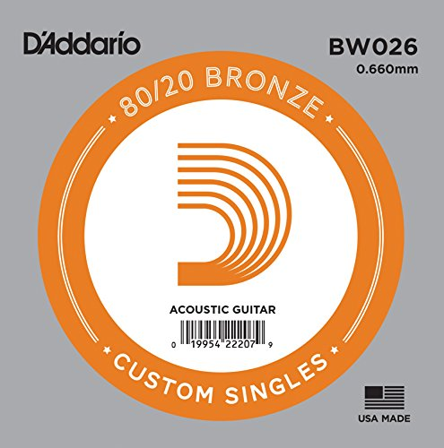 D'Addario BW026 Bronze Wound Acoustic Guitar Single String, ()