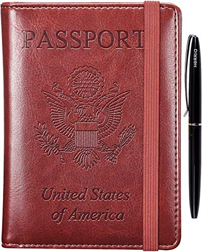 Passport Holder Cover Case - RFID Blocking Anti-theft Leather Passport Wallet Card Case Travel Document Organizer for Women Men with Bonus Pen(Brown)