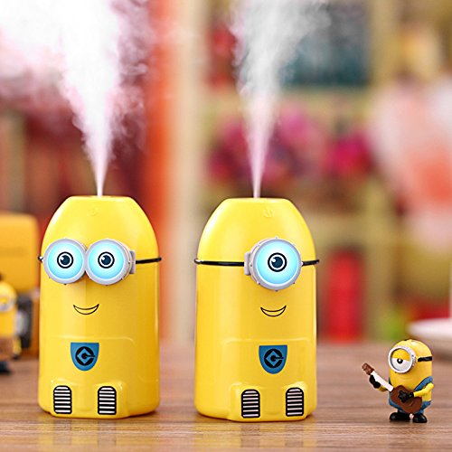 T.Face 250ml Small Yellow People Humidifier USB Ultrasonic Essential Oil Diffuser difusor de Aroma with Night Lights for Office/Home (A)