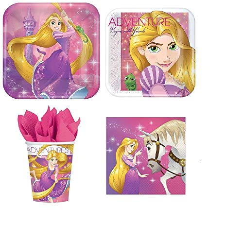 Disney Tangled Princess Rapunzel Value Pack Birthday Party for 8 guests ( Plates, Cups, Napkins)