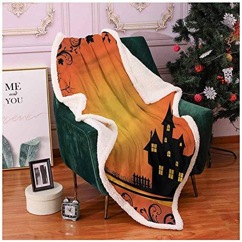 Miles Ralph Throw Blanket Faux Fur Blanket Halloween,Curvy Tree Branches Frame Microfiber Blanket 60